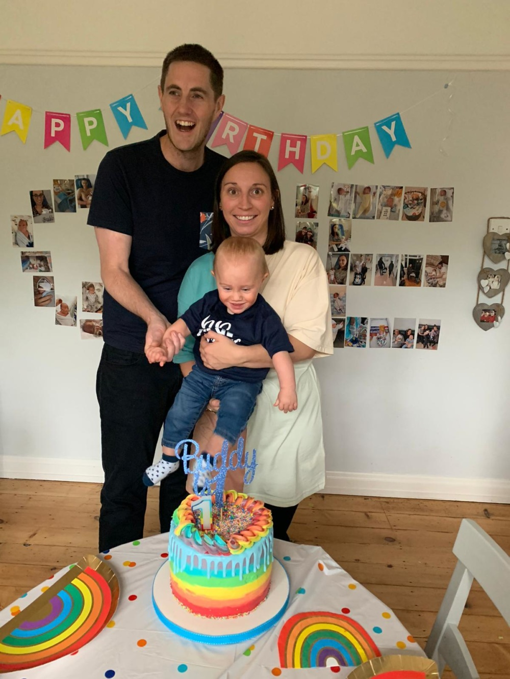 Buddy, celebrating his birthday with parents Paul and Rachel