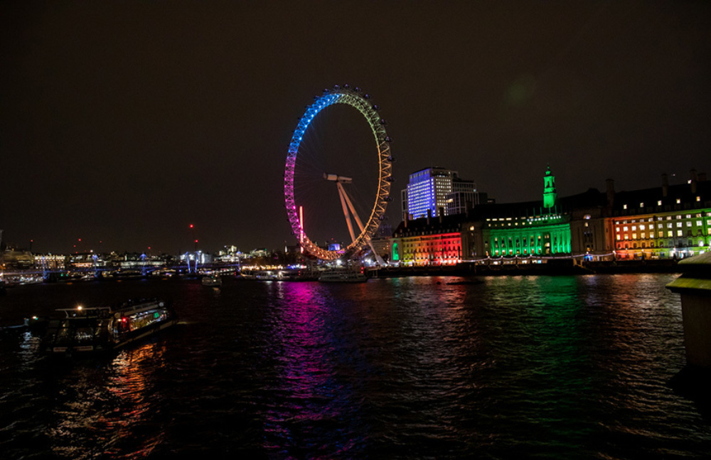 The London Eye, and the landscape of London at night