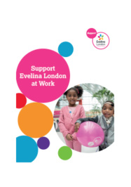 Supporting us at Work brochure cover, featuing two young children holding a balloon at hospital