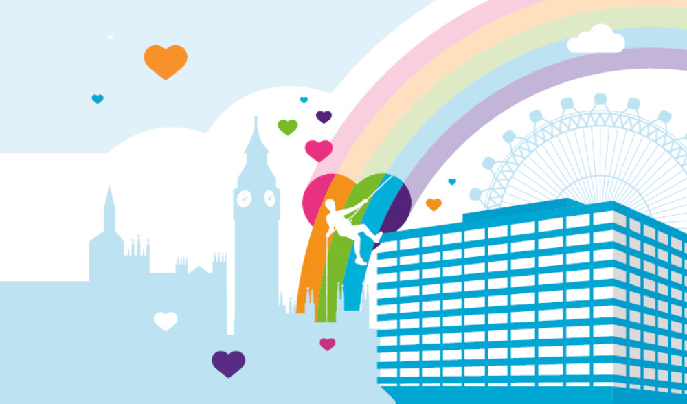 Illustration of a person abseiling down the side of St Thomas' Hospital, with a rainbow and the London skyline in the background