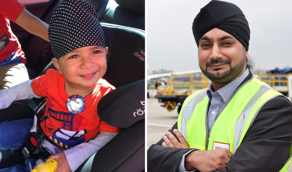 smiling cute boy, devan, to the left and proud dad wearing sikh turban and yellow vest to the right