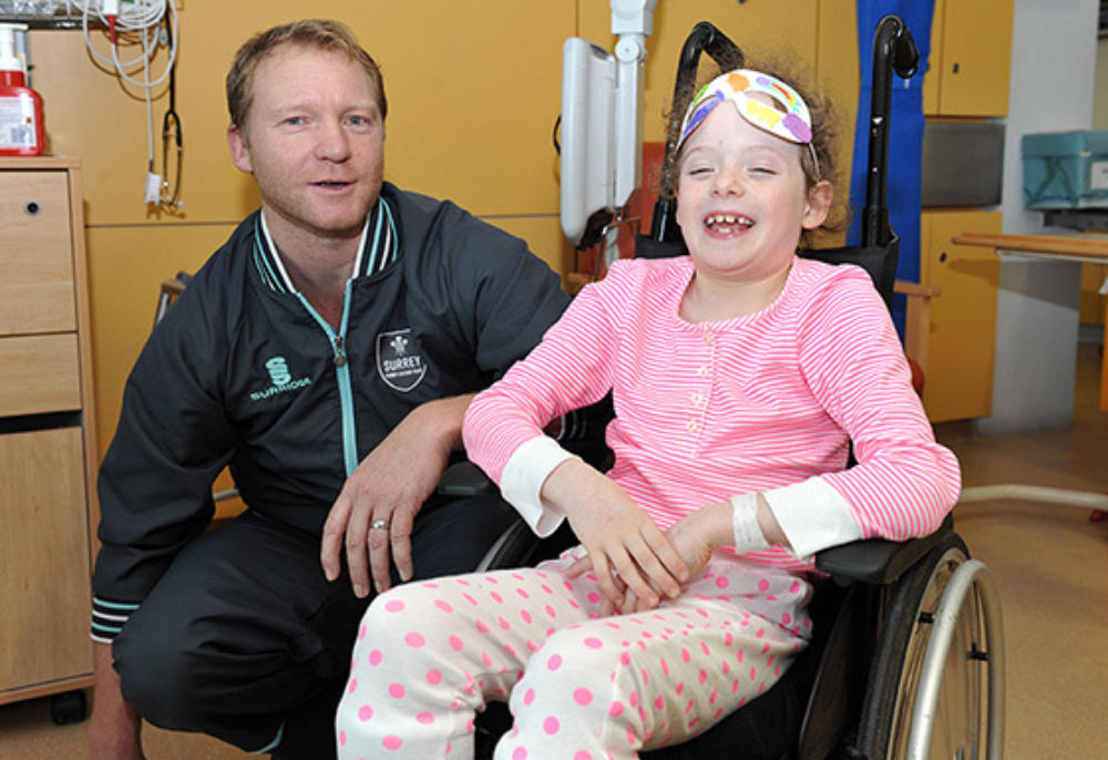 Captain Gareth Batty with a patient at Evelina London