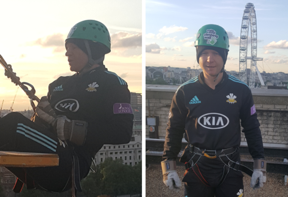 Gareth before and during his intrepid abseil