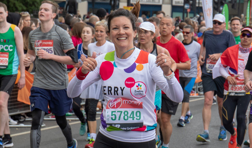 One of our fantastic #TeamEvelina runners taking part in the London Marathon