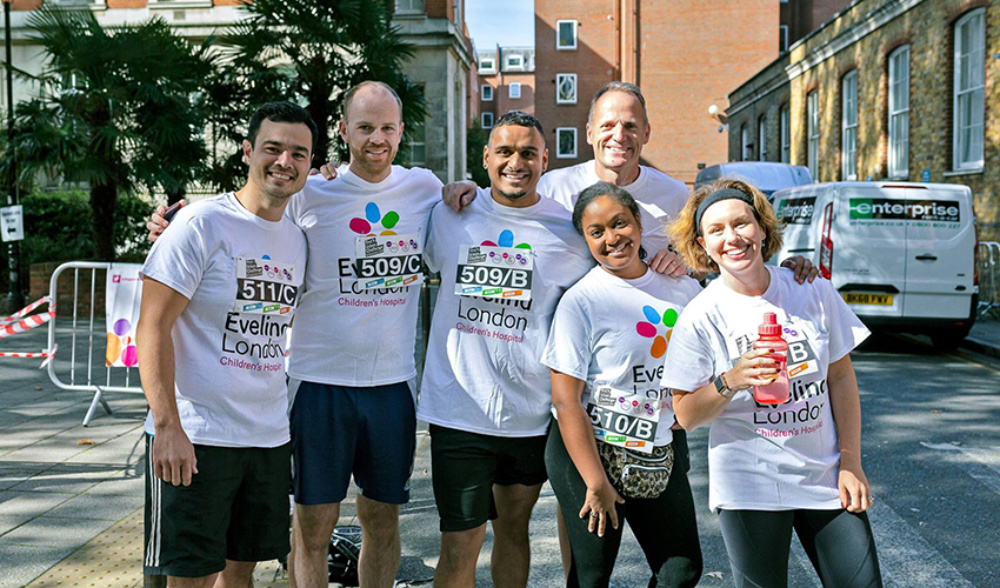 A fantastic team of supporters, ready to take the 2018 Guy's Urban Challenge for Evelina London