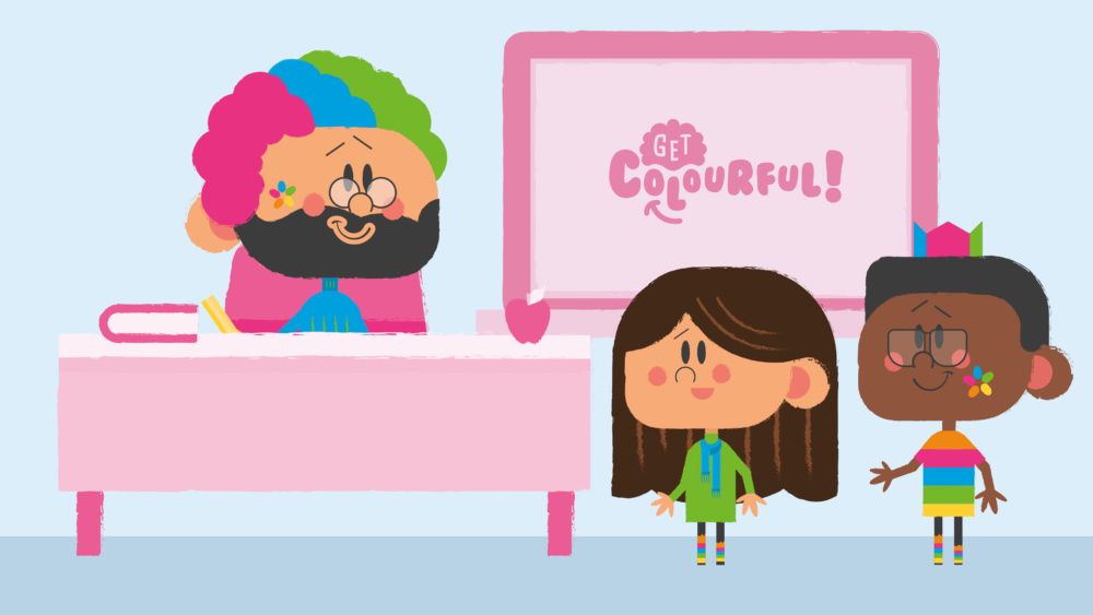 Illustration of teacher at his desk with a colourful wig and face paint, smiling at two students dressed in colourful clothes with face pain. In front of a board with Get Colourful written on it